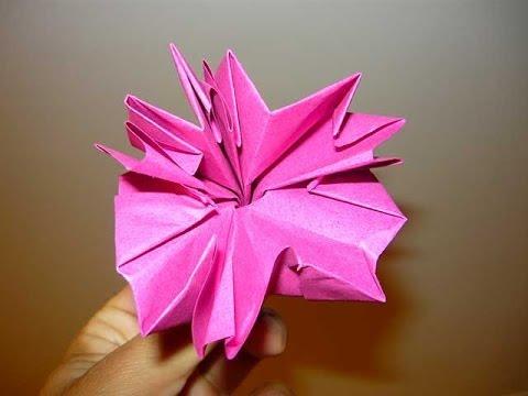 Carnation flower origami youtube carnation flower origami mightylinksfo Images
