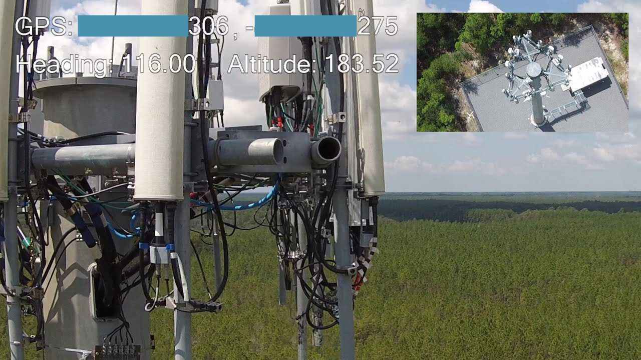 Two drone cell phone tower inspection with gps and heading A 1 inspections