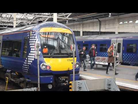 Trains at Edinburgh Waverley Station Scotland 2015.