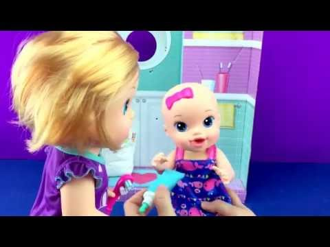 BABY ALIVE Brushy BABY Baby Doll Bribes Little Sister Baby Doll with SHOPKINS  Toy Video