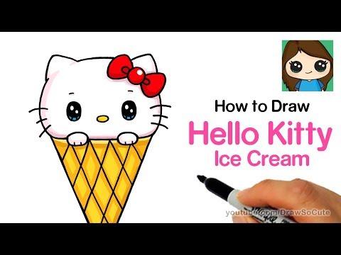 How to Draw Hello Kitty Ice Cream Easy   Sanrio
