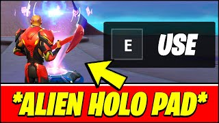 Use an Alien Hologram Pad on top of the PARTY UFO Location - Fortnite Rift Tour