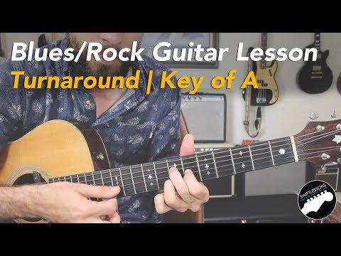 Blues Guitar Lesson   12 Bar Blues & Turnaround Riff   Key of A Major