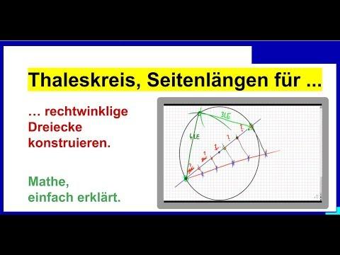 Thaleskreis, Seitenlängen für rechtwinklige Dreiecke konstruieren ...