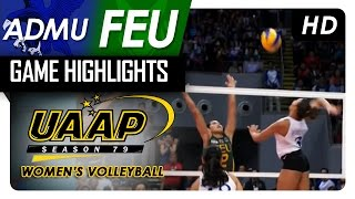 Final Four: ADMU   vs FEU | Game Highlights | UAAP 79 WV | April 23, 2017