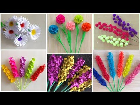 Best 6 Beautiful Paper Flower Making | DIY | Paper Crafts | Home Decor Ideas | Paper Flower