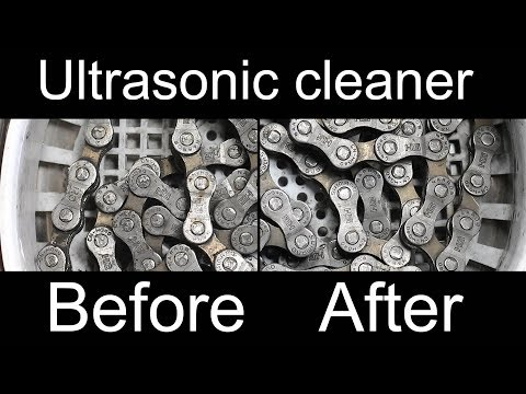 Ultrasonic cleaning a bike chain