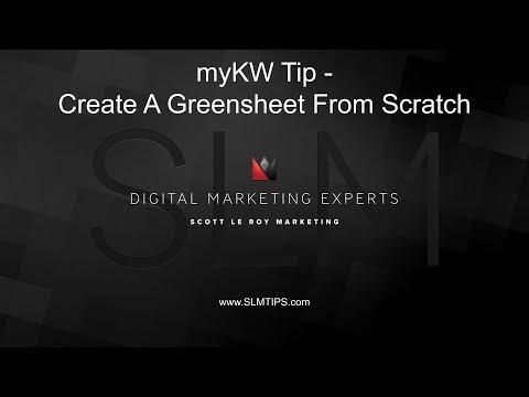 myKW Tip - Create A Greensheet From Scratch