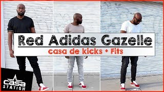 How To Rock (Wear) Red Adidas Gazelle! | Casa De Kicks + Fits