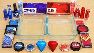 Sapphire vs Ruby - Same Same Edition - Mixing Makeup Eyeshadow Into Slime ASMR