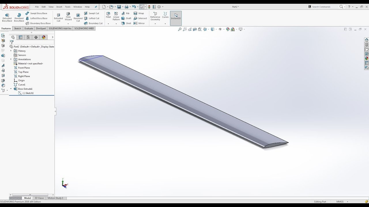 How to design Aerofoil in Solidworks