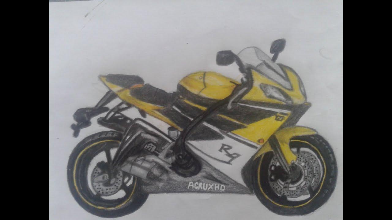 Dibujando una moto  drawing a motorcycle  YouTube