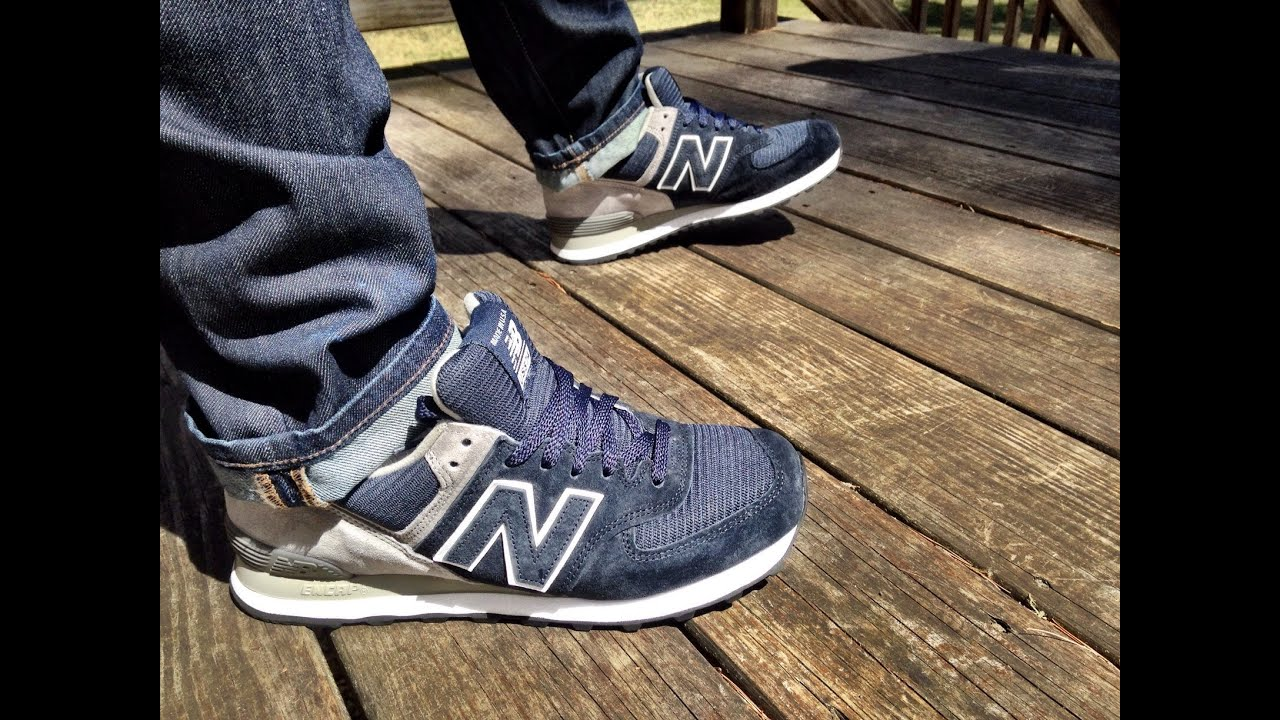 blue new balance 574 on feet