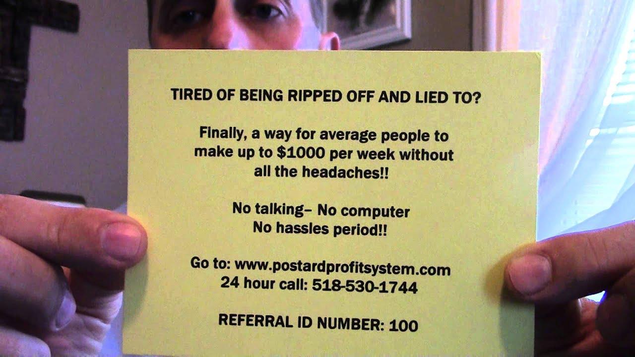 Postcard 101 Make Cash From Home United Freedom Team #1 Marketing ...