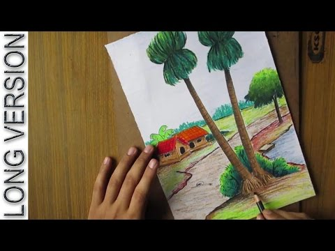 Pastel Tutorial | How to Draw a Village Landscape with Oil Pastels  [LONG VERSION] | Episode-14