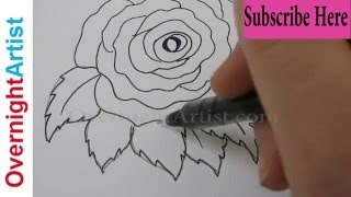 Draw A Rose Step By Step How To - Most Easy Simple Way