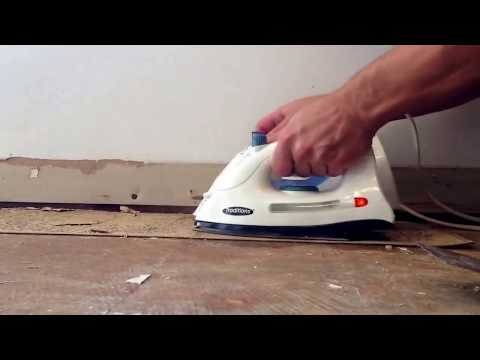 how-to-remove-old-vinyl-tile.-using-2-irons,-best-method!!!