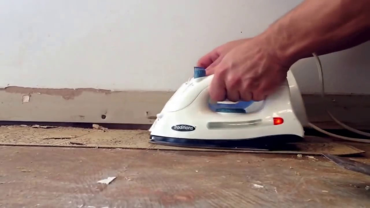 How to remove old vinyl tile using 2 irons best method youtube doublecrazyfo Choice Image
