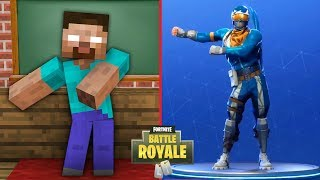 Monster School : FORTNITE BATTLE ROYALE DANCE CHALLENGE - Minecraft Animation Video
