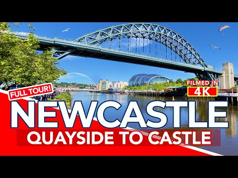 NEWCASTLE UPON TYNE   Tour of Newcastle Quayside from Tyne Bridge to Castle   4K Walk