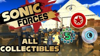 Sonic Forces - Stage 7 Arsenal Pyramid - All Red Rings, Number Rings and Silver Moons