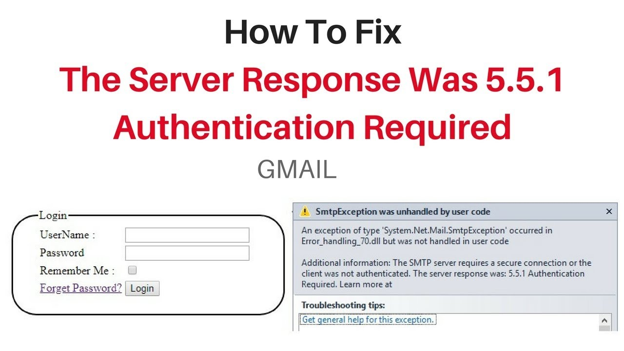 The server response was 5 5 1 Authentication Required gmail send asp net