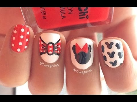 Disney Minnie Mouse Inspired Nail Art