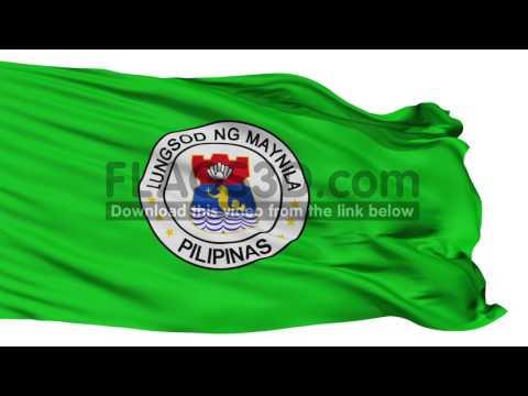 Manila City Isolated Waving Flag