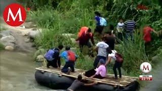 caravana de migrantes hondureños en la frontera de méxico