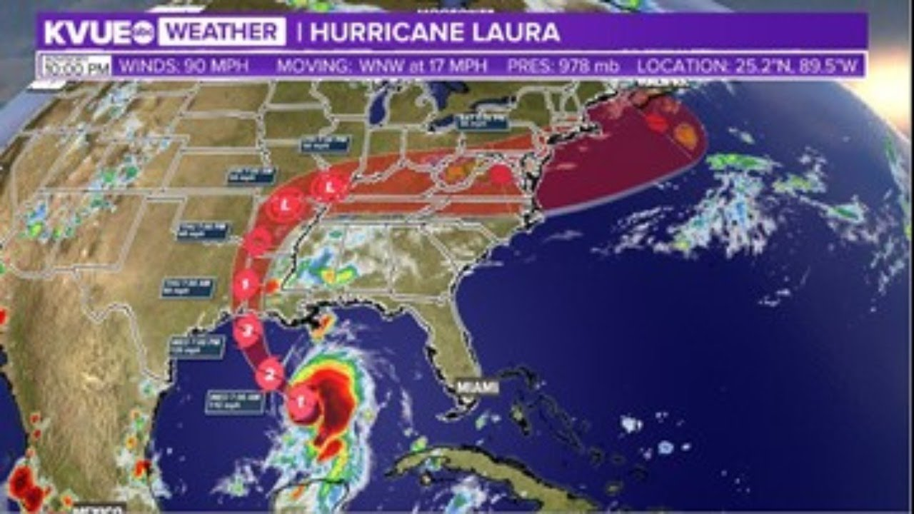 Radar Hurricane Laura Expected To Strengthen To Category 2 Overnight Kvue Youtube