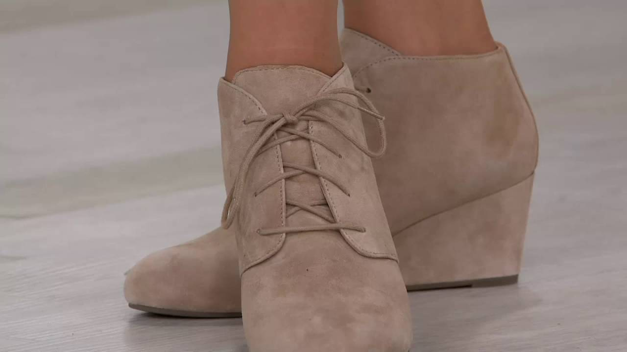 dbfb296ffe8f Vionic Orthotic Suede Lace-up Wedge Boots Becca on QVC - YouTube