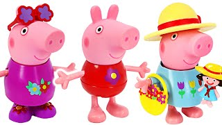 The rain made Peppa pig's clothes dirty! Let's change into a peppa pig spring clothes   PinkyPopTOY