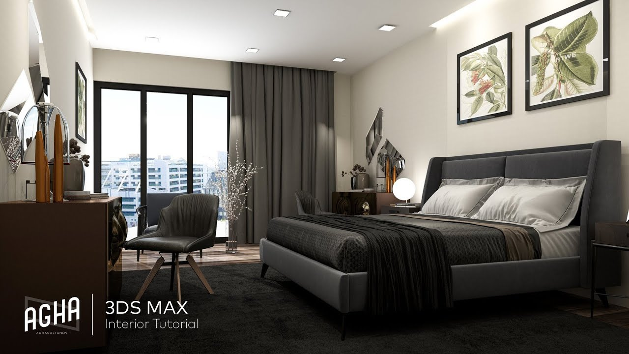 3ds Max 2018 Bedroom Interior Tutorial Modeling Design Vray Render Photoshop Youtube