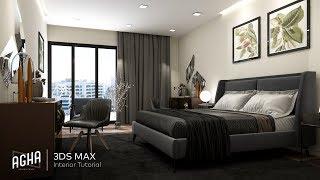 3ds Max 2018 Bedroom Interior Tutorial Modeling Design Vray Render   Photoshop