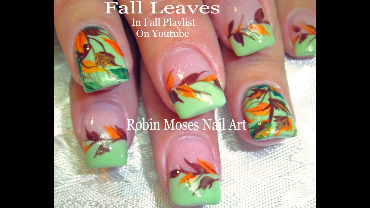 nail art diy fall nails easy autumn leaves design