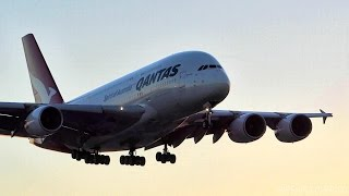 Qantas Airbus A380-800 Dawn Smooth Landing LAX