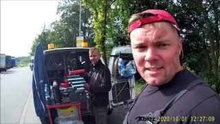 Wymiana sprzęgła DAF 106 w Stuttgarcie .   Clutch replacement in a truck on the road.