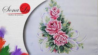 Rosas com Fita em Tecido (Parte2) Sonalupinturas