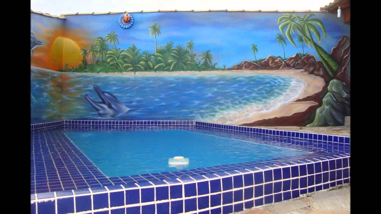 Elder arts aerografia em area de piscina youtube for Pintado de piscinas