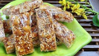 Cách làm Kẹo lạc (Kẹo đậu phộng) truyền thống siêu giòn   Homemade Peanut Candy   Hà Ly Cooking