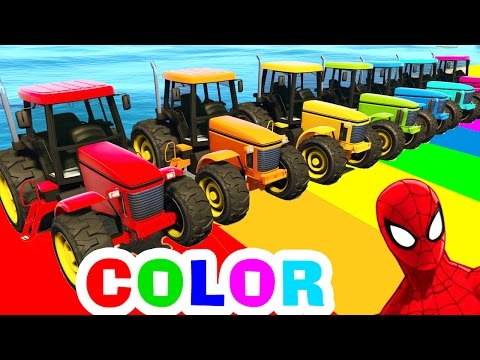 Thumbnail: Tractor COLOR CARS for Kids in Spiderman Cartoon Funny Videos for Children with Nursery Rhymes Songs