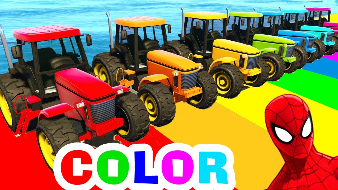 Colour cars rhymes - Tractor Color Cars For Kids In Spiderman Cartoon Funny Videos For Children With Nursery Rhymes Songs Youtube