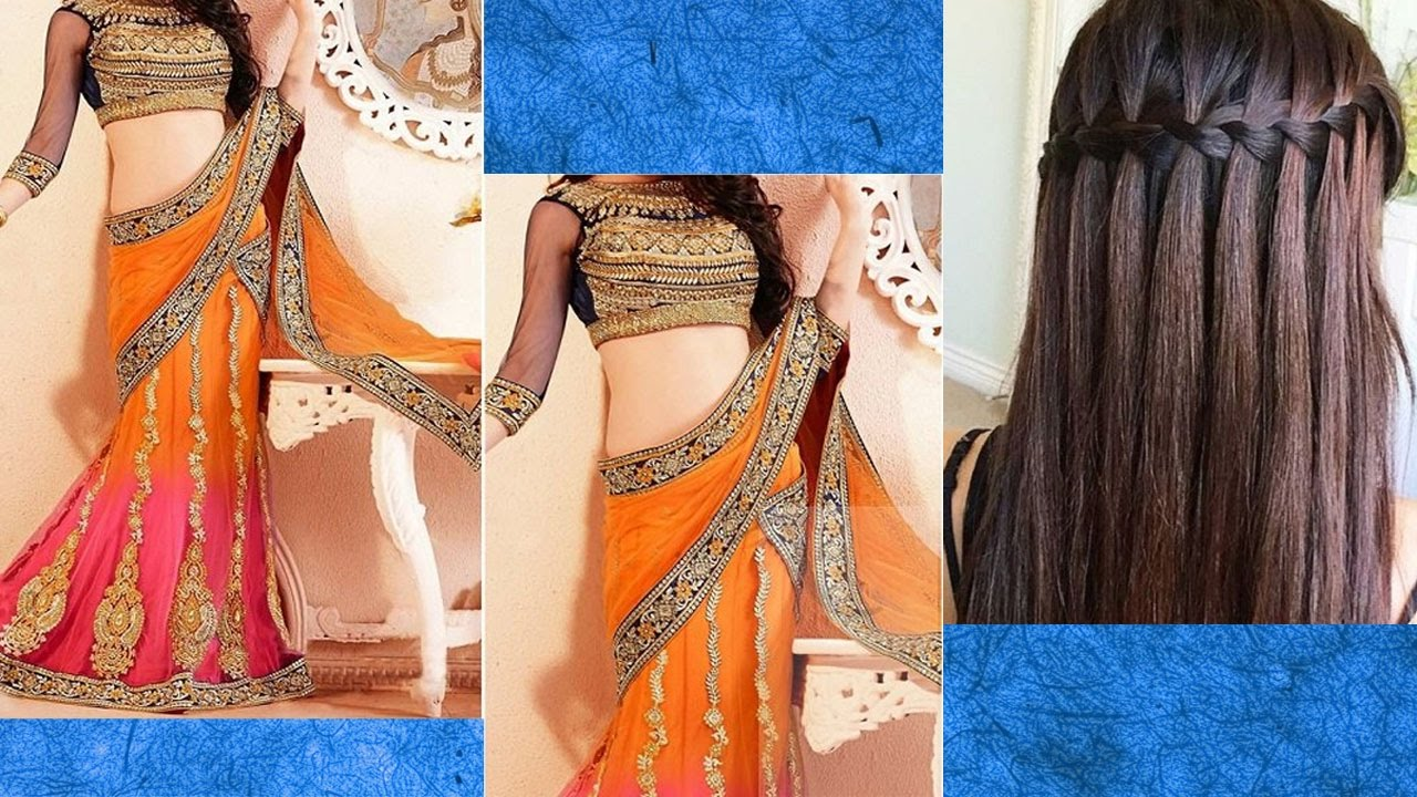 lehenga style saree draping with makeup and hairstyle for lehenga