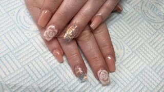 Acrylic Nails  3D Rose  Not Polish  Sculpted nails on a client