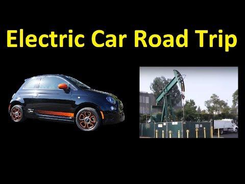 Electric car Long Range Drive up Coast Fiat 500 Test Road