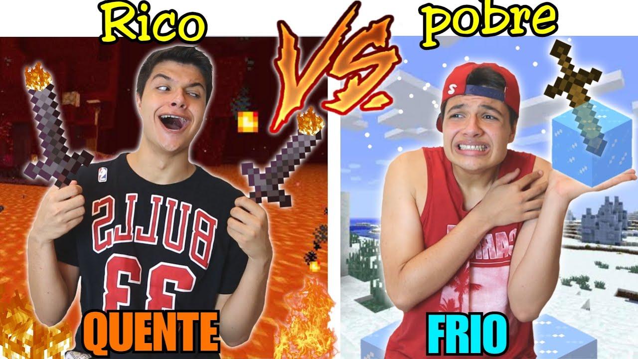 RICO VS POBRE NA ESCOLA #66 - QUENTE VS FRIO NO MINECRAFT !!
