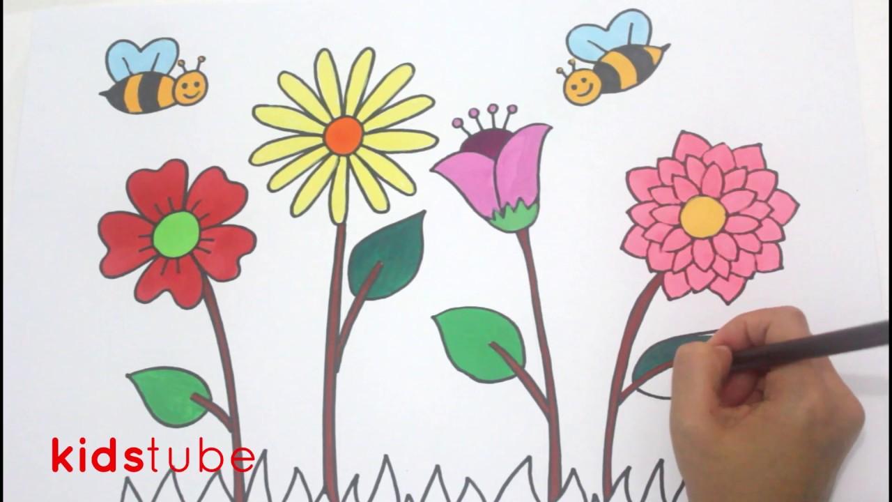 Cara Menggambar Bunga Dan Lebah I Anak Paud Tk Sd Youtube