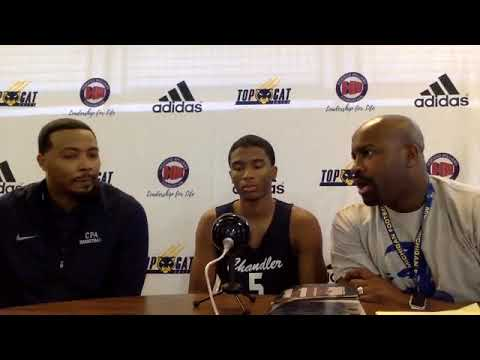 Detroit Chandler Park Coach Scott and Sr  guard Marlon Carter post game interview after defeating De