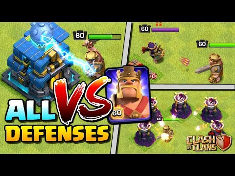 MAX KING Vs ALL DEFENSES In Clash Of Clans - Level 60 Barbarian King | Town Hall 12 Attack Strategy!