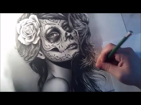 Sugar Skull Girl Portrait Speed Drawing  Semi Realistic Tattoo Design Portrait